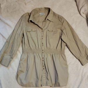Dress barn size xl tan button down shirt